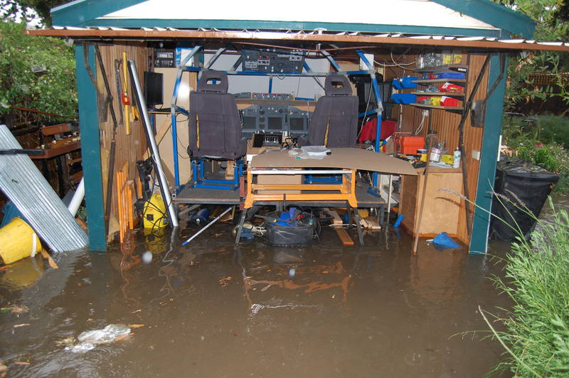 Simulator water landing.  Shed after flood