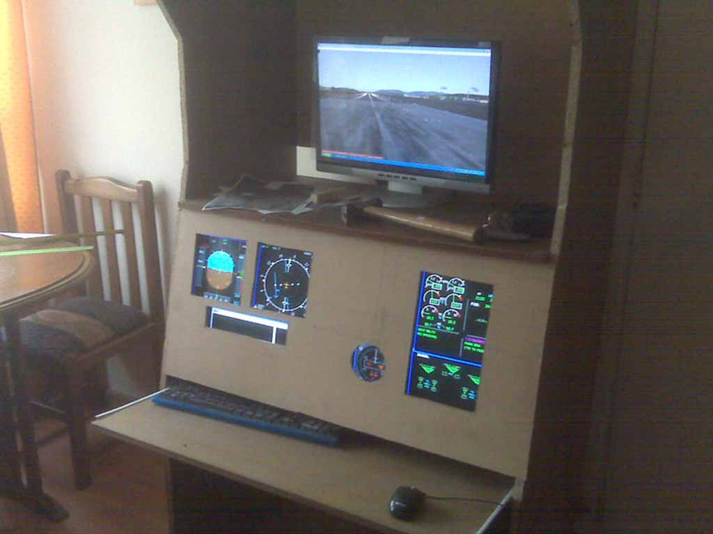 My little A320 cockpit. I used  only 1 PC and Wilco Feethere 320